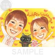 猫ちゃんも一緒の似顔絵ウェルカムボード